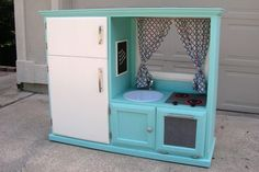 Convert an Old TV Cabinet into a play kitchen.