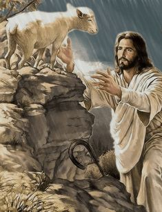 Those of us who are saved are the sheep of the Lord Jesus Christ. Pictures Of Jesus Christ, Bible Pictures, Pictures Of God, Jesus Pics, Jesus Art, God Jesus, Image Jesus, Jesus Painting, Saint Esprit