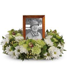 Funeral Flower Arrangements, Funeral Flowers, Floral Arrangements, Green Carnation, White Chrysanthemum, Cymbidium Orchids, Carnations, Chrysanthemums, Flowers For Men
