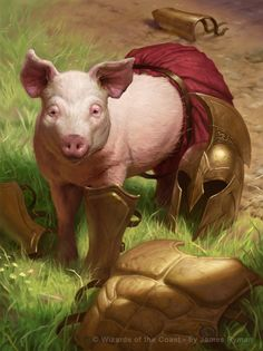 e621 armor clothing feral grass helmet james_ryman magic_the_gathering male mammal official_art outside pig porcine post_transformation solo