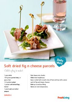 Make these mouth-watering soft dried #fig & #cheese parcels to wow your dinner guests! #recipe #canapes #snacks #picknpay #dailydish