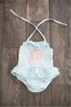 5f4715282b30f Seersucker Girls Double Ruffle One Piece Swimsuit - AQUA. Embroidery Blanks  ...