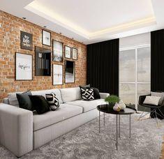 SALA| Nesse apartamento queríamos mesclar o estilo industrial e escandinavo. Sendo assim, toques sutis como no papel de parede de tijolinho e mesa de centro buscamos remeter ao estilo industrial. Já a utilização de cores como o preto e branco remetem ao escandinavo. Também criamos essa composição maravilhosa de quadros com uma pegada mais urbana. E esse tapete felpudo??? Super aconchegante!!!😍😍 _______________________________ #saladecorada #homedecoration #decoracao #geraçãocarolcantelli… Home Room Design, Interior Design Living Room, Interior Decorating, House Design, Home Living Room, Living Room Decor, Wc Decoration, Estilo Interior, Large Bedroom