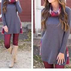 Plaid/Charcoal Tunic This can be worn as a dress or with leggings! Brand new never worn! Tops Tunics