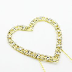 Love Heart Crystal Rhinestone Cake Topper (FAUX Diamond /Gold Diamante) - Features: - Romantic Crystal Rhinestone Love Heart Cake Topper. - Simple and Elegant, The Love Heart Cake Topper is gold plate