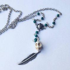 Arizona Rosary Necklace-White Skull