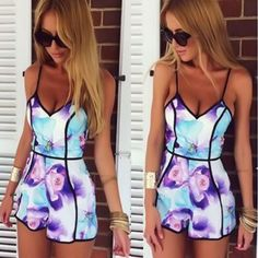 Jumpsuit 2018 Sexy Women V-Neck Floral Casual Jumpsuit Playsuit Rompers Trousers Bodysuit Playsuit Overalls feminino July 11 - March 17 2019 at Cute Rompers, Rompers Women, Jumpsuits For Women, Fashion Jumpsuits, Rompers For Teens, Women Shorts, Cute Summer Rompers, Jumpsuits Uk, Beach Jumpsuits