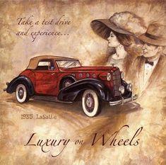 Ruane Manning: Luxury on Wheels Fertig-Bild Wandbild Oldtimer Auto Decoupage Vintage, Decoupage Paper, Vintage Diy, Vintage Cards, Vintage Paper, Vintage Postcards, Vintage Pictures, Vintage Images, Art Deco Cards