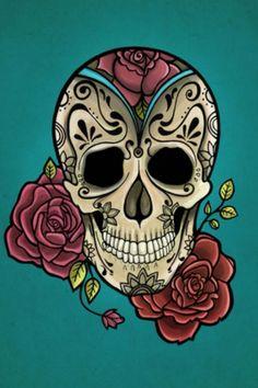 Sugar skull with roses  soooo cute ...