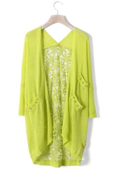 Daisy Floral Back Cardigan in Neon Green - New Arrivals - Retro, Indie and Unique Fashion