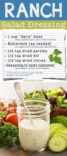 Homemade Ranch Salad Dressing Recipe -- quick and easy! Made with your choice of mayo, sour cream, or greek yogurt. | Listotic.com