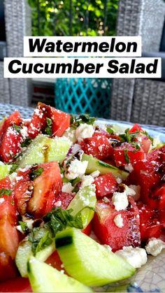 Salad Recipes Healthy Lunch, Best Salad Recipes, Cucumber Recipes, Watermelon Recipes, Easy Salads, Healthy Snacks, Vegetarian Recipes, Healthy Eating, Cooking Recipes