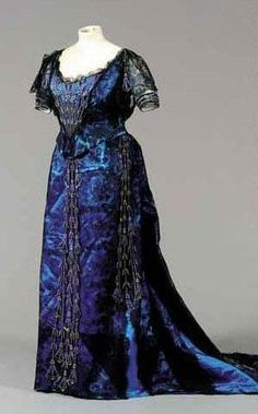 Blue and Black 1900 ball gown