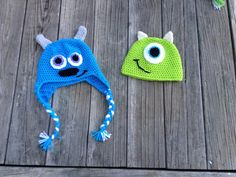 Crochet Mike and Sulley Hats from Monsters Inc and Monsters University!