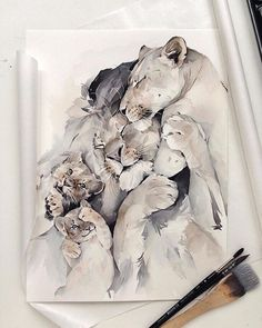 If you are a fan of watercolors like me, these paintings will enchant you! ❤️ Magnificent watercolor paintings by Art Watercolor, Watercolor Illustration, Animal Drawings, Art Drawings, Lion Art, Art World, Cat Art, Art Pictures, Painting & Drawing