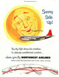 Fly high above the weather in altitude-conditioned comfort with Northwest Airlines. #1950s #fifties #ad #vintage #airline #travel #plane