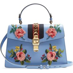 Gucci Sylvie large floral-appliqué leather shoulder bag found on Polyvore featuring bags, handbags, shoulder bags, gucci, light blue, leather shoulder bag, leather shoulder handbags, light blue handbags, blue leather shoulder bag and leather purses
