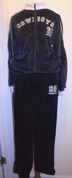 Reebok Sweatsuit L Blue Navy Dallas Cowboys Velour Jacket Pants Track Suit #Reebok #TrackSweatSuits