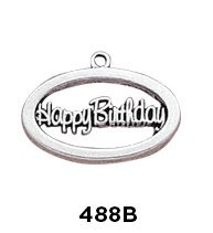 Happy Birthday Oval Charm