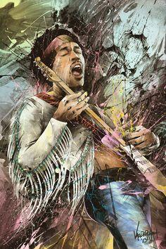 Awesome Art by JP Valderrama of Jimi Hendrix Hard Rock, Rock Posters, Concert Posters, Woodstock, Rock And Roll, Arte Steampunk, Jimi Hendrix Experience, Art Sculpture, Rock Legends