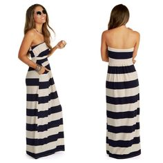 NEW NAVY AND IVORY STRIPED MAXI DRESS WITH POCKETS SIZE MEDIUM #Windsor #Maxi #Casual