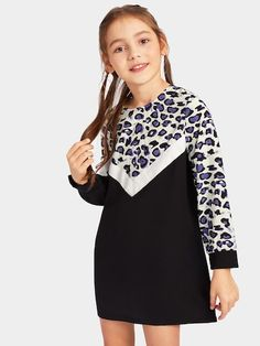 Shop Girls Zip Back Color-block Leopard Sweat Dress online. SHEIN offers Girls Zip Back Color-block Leopard Sweat Dress & more to fit your fashionable needs. Sweat Dress, Tee Dress, Dress Up, Dress Girl, Dress Clothes, Fashion News, Kids Fashion, Girls Shopping, Types Of Sleeves