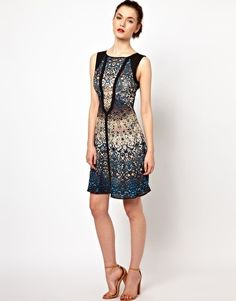Image 4 of Warehouse Hi Lo Dress In Iris Print