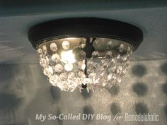 knockoff Pottery Barn MIA faceted crystal flushmount from a standard ceiling  light - My So-