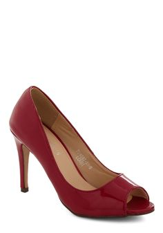 Sass in Your Step Heel in Red - Red, Solid, Peep Toe, Mid, Faux Leather