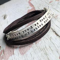 custom leather wrap bracelet with personalized sterling silver bar! #studiojeweldotcom