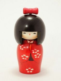 Kokeshi Doll Tsubomi 5.7in (14.5cm) Japanese Wooden Doll Hand Made in Japan