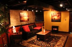 unfinished ceiling and stained concrete floor.we have exposed brick and have thought about staining the floor. Basement Ceiling Insulation, Unfinished Basement Ceiling, Basement Ceiling Options, Basement Lighting, Ceiling Ideas, Basement Ideas, Basement Decorating, Unfinished Basements, Basement Designs