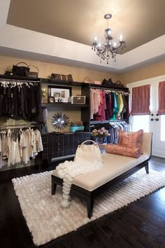Stylish women's walk- in-closet