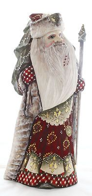 Father Frost Russian Wooden Hand Carved Hand Painted Santa w/ Christmas Tree