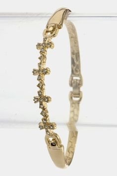 Crystal Cross Bracelet (Gold Tone) - $17