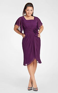 Mother of the Bride? Sheath/Column Square Short Sleeve Knee-length Chiffon Cocktail Dress