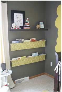 Fabric and curtain rods make an easy DIY bookshelf or paperwork and mail organizer!