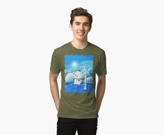 'Snowbaby on Sparkling Ice' Tri-blend T-Shirt by We ~ Ivy Presents For Friends, Sparkling Ice, Graphic Shirts, Hoodies, Sweatshirts, Female Models, Ivy, Snowman, Classic T Shirts