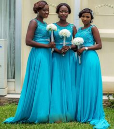 Blue Bridesmaid Dress with a Beaded Belt, Illusion Bridesmaid with Beaded Floral Bodice, Chiffon Bridesmaid Dress with Sweep Train