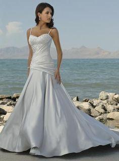 Spaghetti Straps Beaded Asymmetrical Destination Wedding Dress