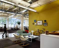 Open Ceiling Contemporary Office, Office Lighting, Home Office Decor,  Corporate Office Design,