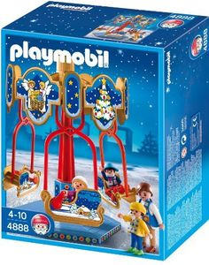 Playmobil 4888 Sled Carousel by Playmobil. $17.99. 9.8 x 7.9 x 3.9 inches. Seat the figures on the sleds and spin them around the carousel. Set includes four figures, functioning carousel, and other accessories. Recommended for ages four to ten.. Save 28% Off!