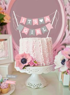 It's a Girl Cake Bunting Flags Printables Shop