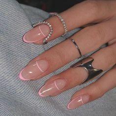 Pink Tip Nails, Almond Nails Pink, Almond Nails French, French Tip Acrylic Nails, Almond Acrylic Nails, Summer Acrylic Nails, Best Acrylic Nails, Short Almond Nails, Nail French