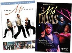 THREE MO' TENORS & 3 MO' DIVAS DVD Set - Includes:  Three Mo' Tenors Victor Trent Cook, Rodrick Dixon, and Thomas Young steal your heart with their artistry, wit, and eclectic repertoire including opera, Broadway, jazz, blues, soul, spiritual and gospel. 81 min. DVD  3 Mo' Divas  Marion Caffey, creator of 3 Mo'Tenors, presents his latest show, a glittering display of vocal virtuosity(Denver Post).Nova Payton, Jamet Pittman, and Laurice Lanier rock the house.