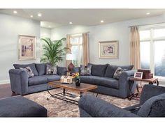 blue living room furniture sets | Blue Denim Fabric Modern Sofa ...