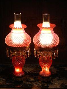 Fenton+Cranberry+Opalescent+hobnail+Student+lamp+GWTW+(1-2)+Dutch+auction++++++
