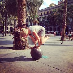 You can practice yoga anywhere. Even on the Plaza Real in Barcelona!