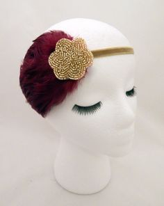 The Lucille  burgundy Gatsby feather fascinator by ShorelandChic