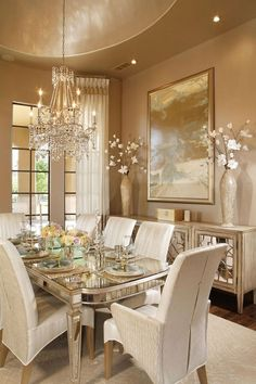 49 Luxury And Elegant Dining Room Ideas - Imagination is the key to a well-designed dining room and choosing a theme around which you can base your furniture and decorating ideas is a great wa. Elegant Dining Room, Luxury Dining Room, Dining Room Design, Dining Room Furniture, Beautiful Dining Rooms, Dinning Room Decor, Dining Room Table Decor, Room Decor, Apartment Decor